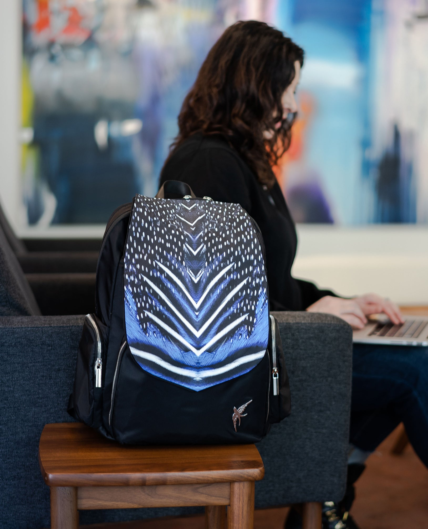 Laptop bag by GraceTech featuring the Cobalt Feathers Print on our Laptop Backpack with a separate computer section.