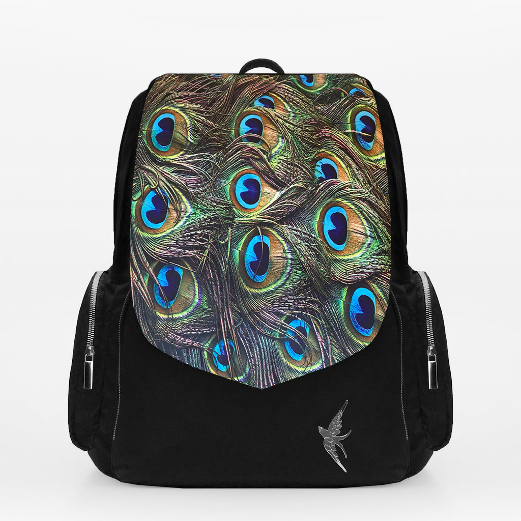 Stylish Laptop Backpack with the Emerald Peacock Print