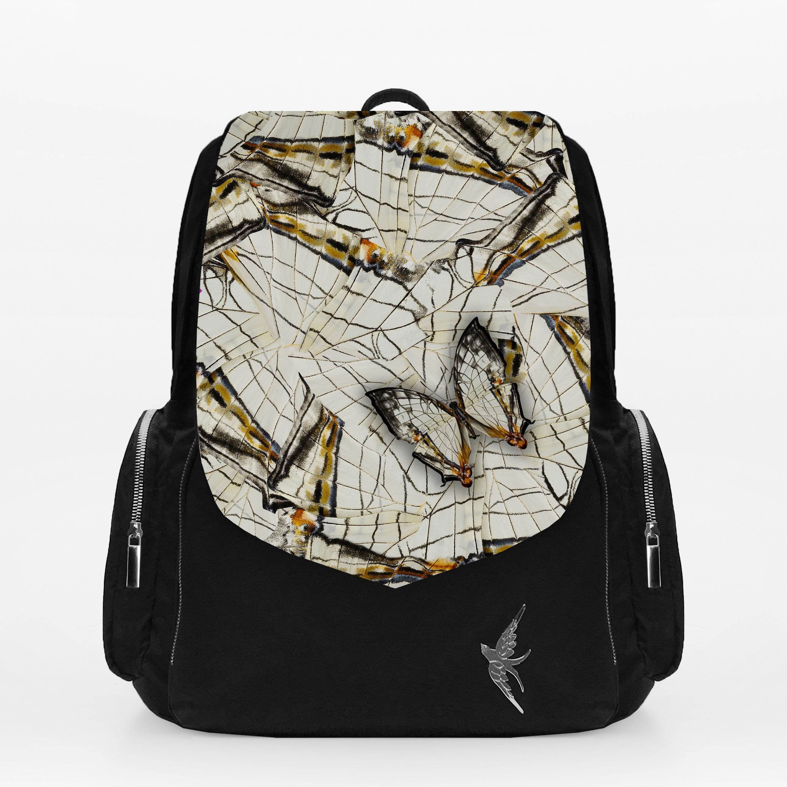 Stylish Laptop Backpack with the Olive Butterfly Print
