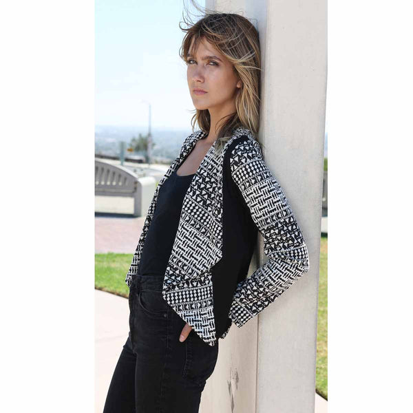 Black/White Jacquard Knit Open Front Jacket
