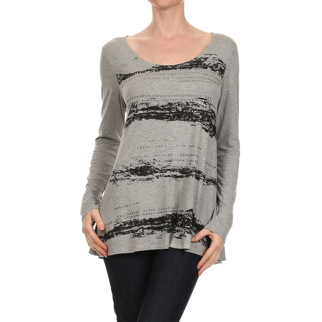 Screen / Stone Long Sleeve Top