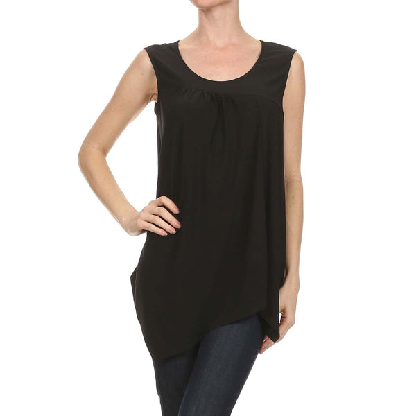 Intermingled Knit Uneven Hem Tank