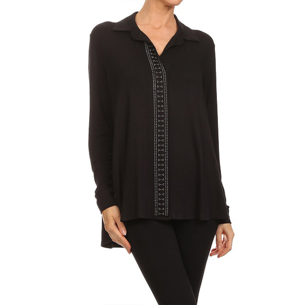Embellished Placket Pull On Knit Shirts