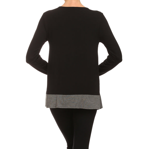 Uneven Contrast Hem With Layered Front Tunic