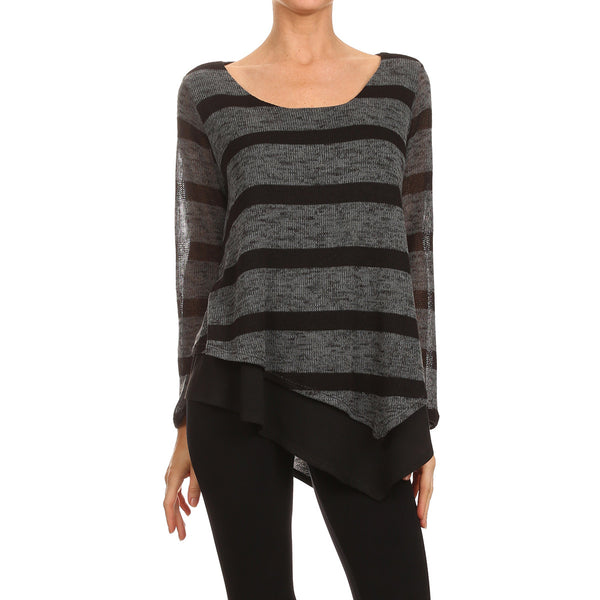 Stripe Sweater Overlay Tunic