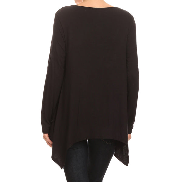 Jeweled Neck Uneven Hem Top