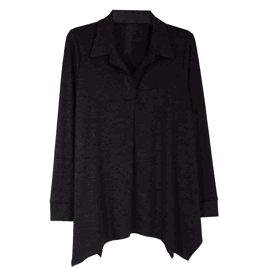 Pull On Knit Shirts With Uneven Hem