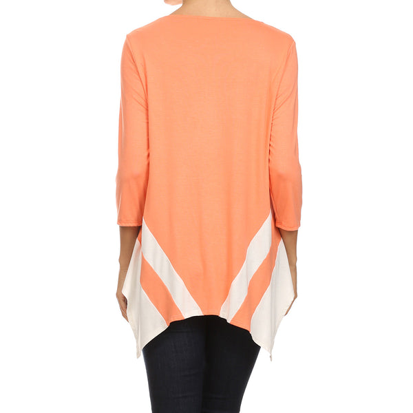 Color Block Uneven Hem Top