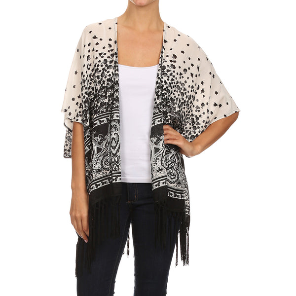 Black/White Border Print Shawl With Fringe