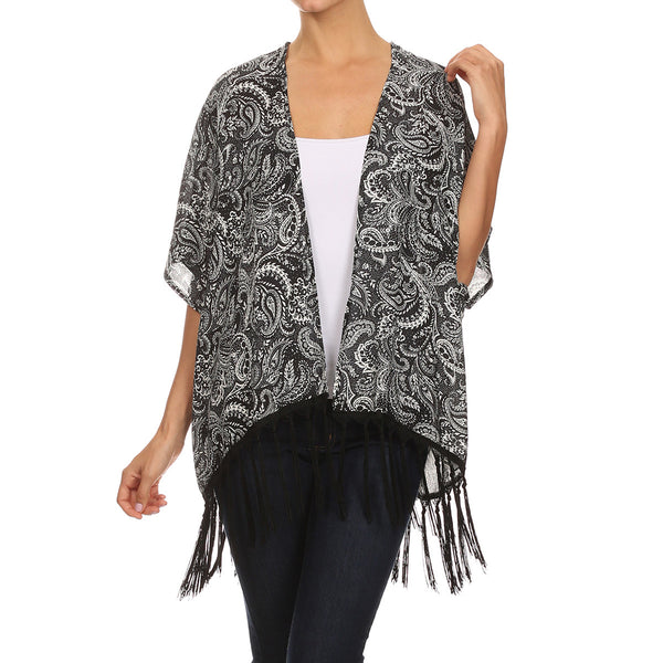 Black/White Paisley Print Shawl With Fringe