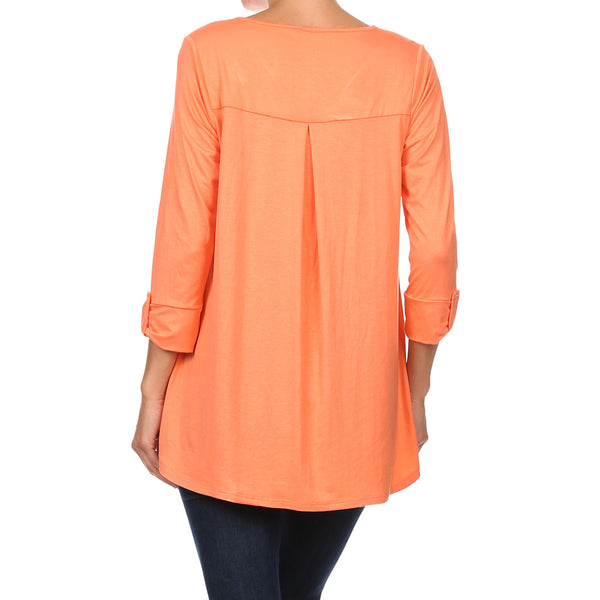 Button Front Tab Sleeve Blouse