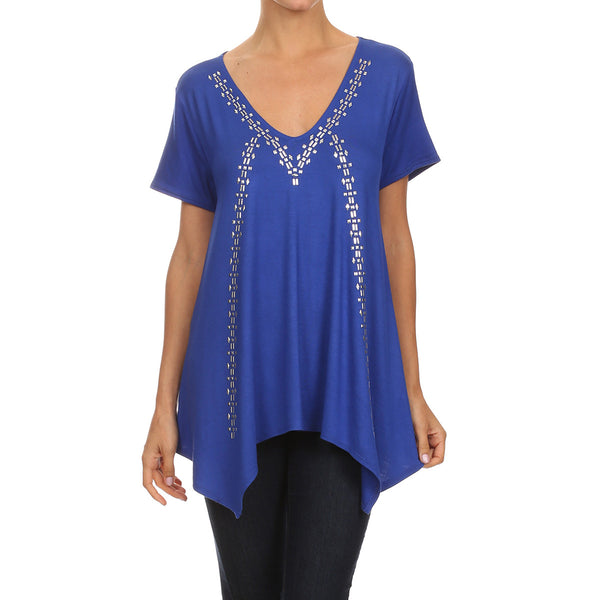 Studded Uneven Hem Top