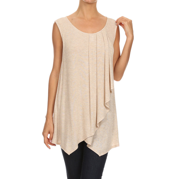 Light Weight spring Knit Tank w/ Pleat Detail
