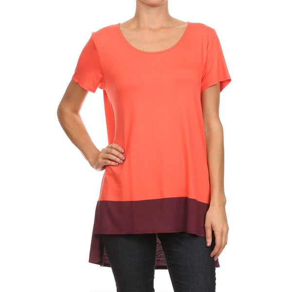 Color Block Side Slit Tunic