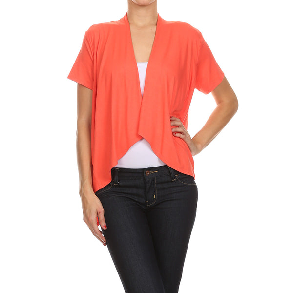 Short Sleeve Layered Side Tail Cardigan