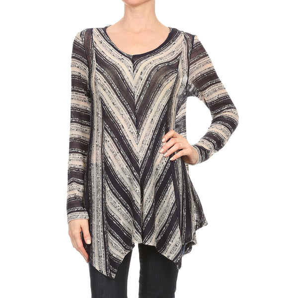 Loose Sweater Stripe Knit Tunic