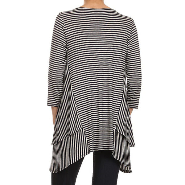 Layered Side Tail Stripe Tunic