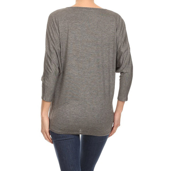 Diagonal Animal Foil Dolman Top