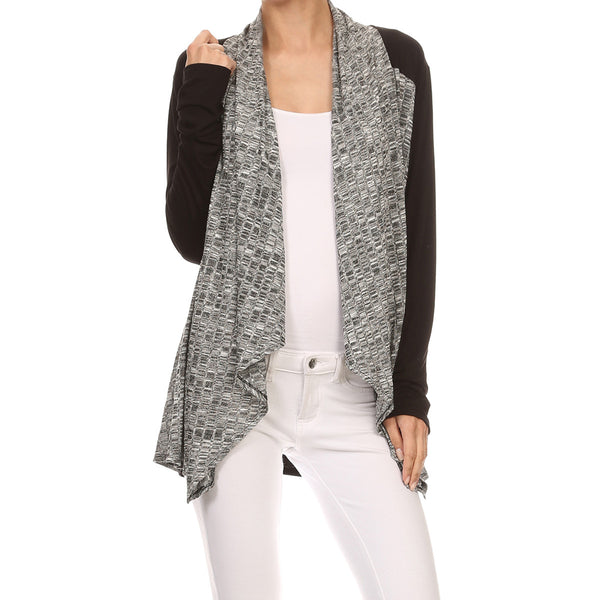 Melange Rib Mix-Media Cardigan