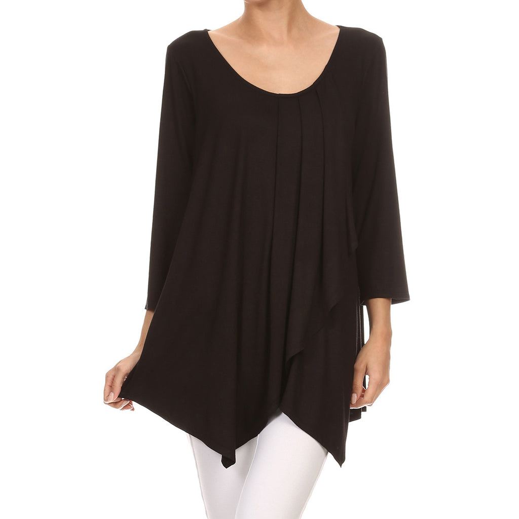 Pleated & Crossover Front Tunic