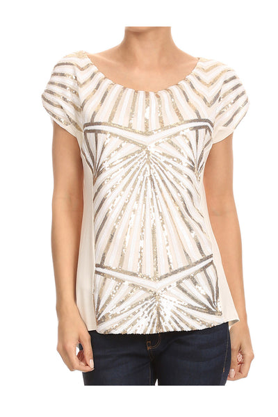 Sequins Beaded Front Top
