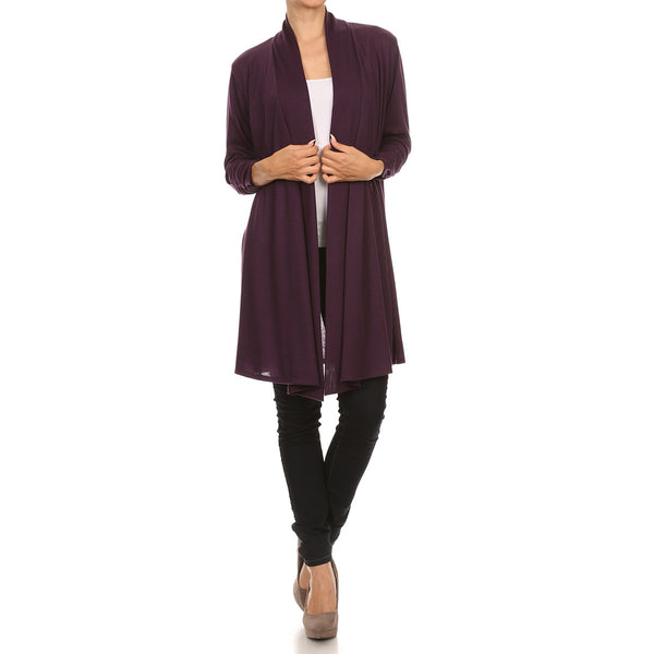 Long Hacci Sweater Knit Cardigan With Shirred Sleeves