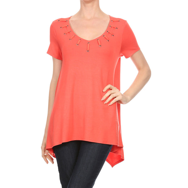Laced- Up Detail Neck Top