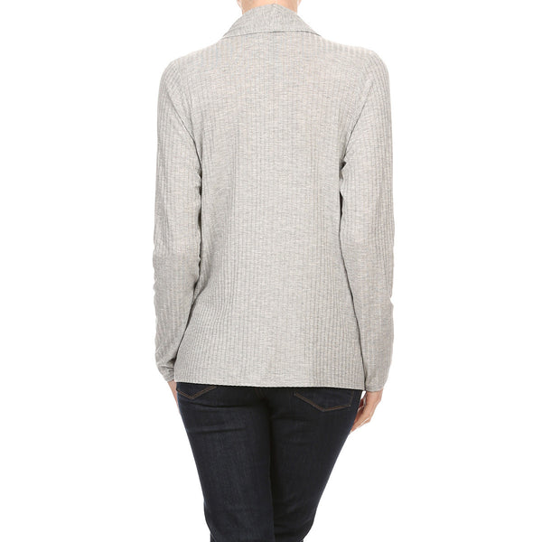 Rayon Rib Knit Draped Pocket Cardigan