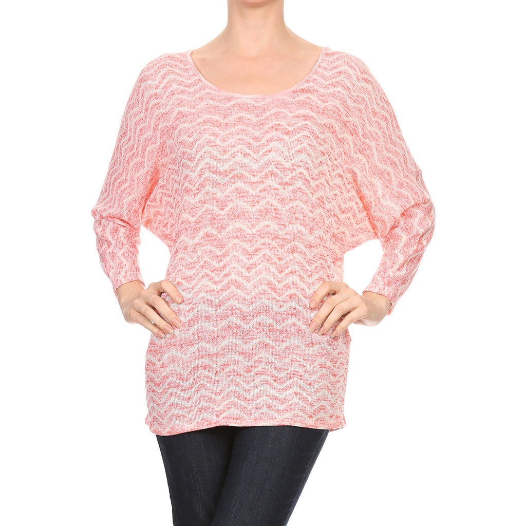 Intermingled Wave Knit Dolman Top