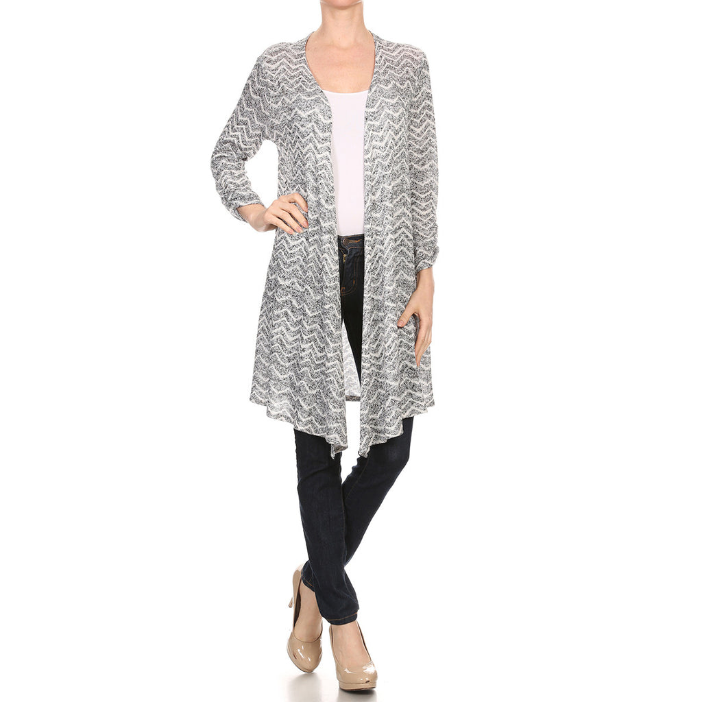 Intermingled Wave Knit Long Cardigan