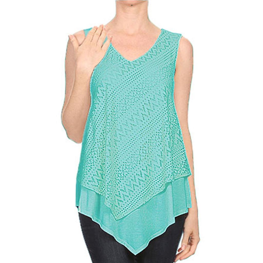 Diagonal Lace Overlay Tank