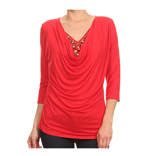 Peek-a-Boo Beads Drape Neck Top