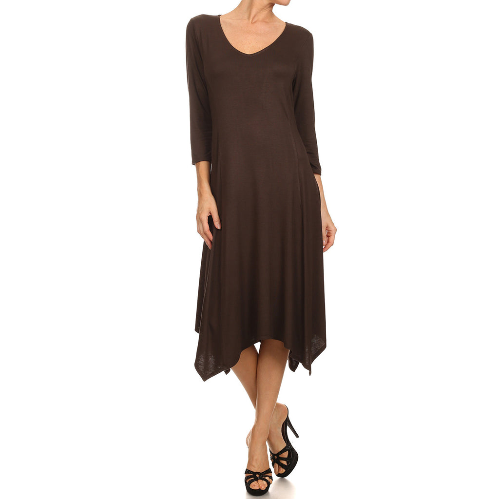 3/4 Sleeve Uneven Hem Dress