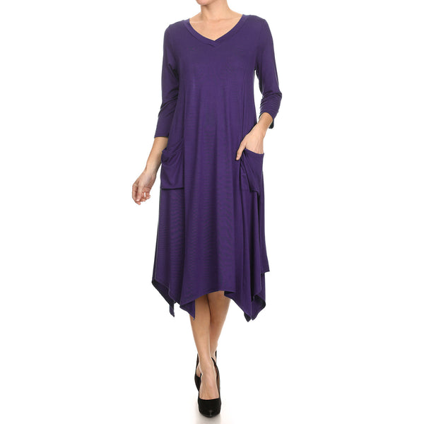 Uneven Hem Pocket Dress