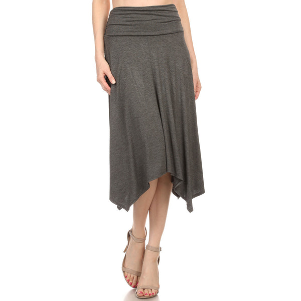 Shirred Waist Uneven Hem Midi Skirt