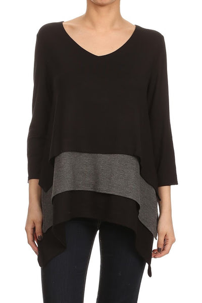2-Tone Layered Top w/ Side Tail