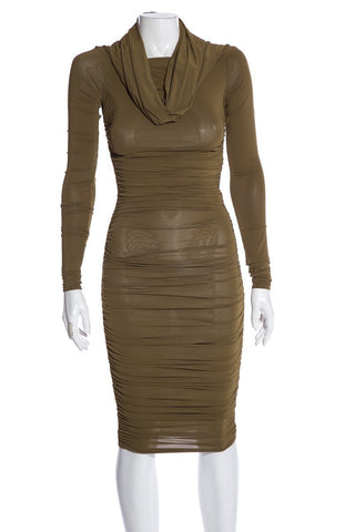 Céline Moss Green Long Sleeve Dress SZ S