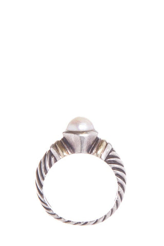 David Yurman Sterling Silver & 14K Yellow Gold Pearl Cable Ring SZ 7.5