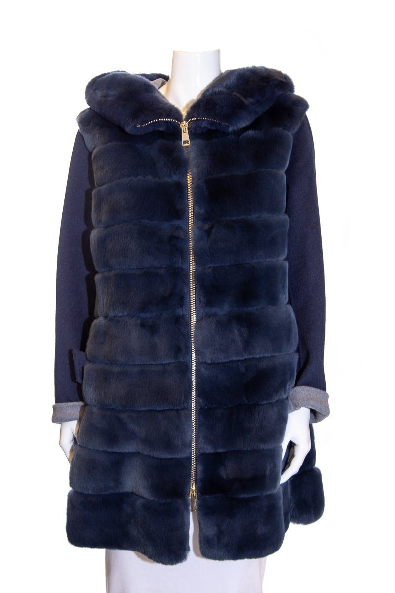 Suprema Navy Rex Fur and Wool Jacket SZ 42 NWT
