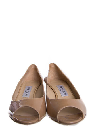 Jimmy Choo Nude Patent Wedge SZ 39.5