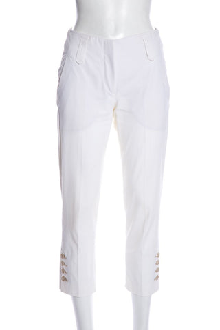 Brunello Cucinelli Ivory Straight Leg Cropped Mid-Rise Pants SZ 2
