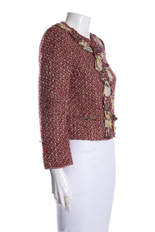 Moschino Burgundy & Multi-Color Tweed Pattern Evening Jacket SZ 8