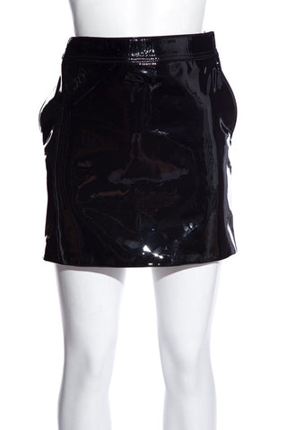 Yves Saint Laurent Patent Leather Black Mini Skirt SZ 34