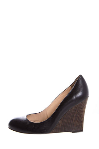 37.5 Christian Louboutin Black Leather Round-Toe Wedge Heel Pumps