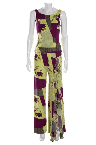 Jiki Green & Purple Pant Set SZ 42