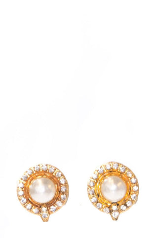 Vintage Chanel Faux Pearl and Rhinestone Gold Earrings