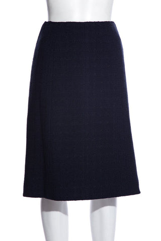 Chanel Vintage Navy Knee-Length Skirt SZ 36