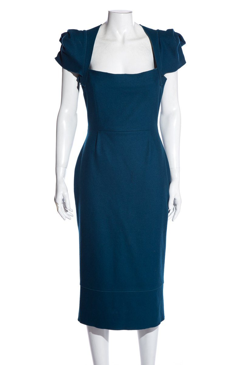 Roland Mouret Teal Wool Square Neckline Knee-Length Sheath Dress SZ 10