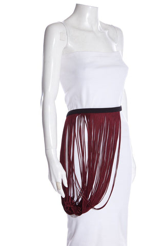 Stella McCartney Black Leather & Burgundy Fringe Belt