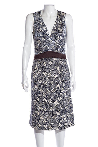 Céline Sleeveless Navy & White Printed V-Neck Dress SZ 38